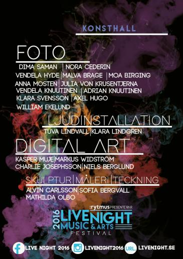 Live night affisch KONSTHALL